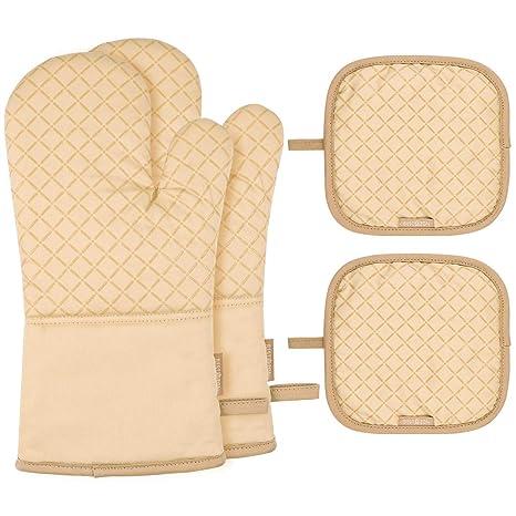 BESTONZON - 1 juego de guantes de horno resistentes al calor y ...