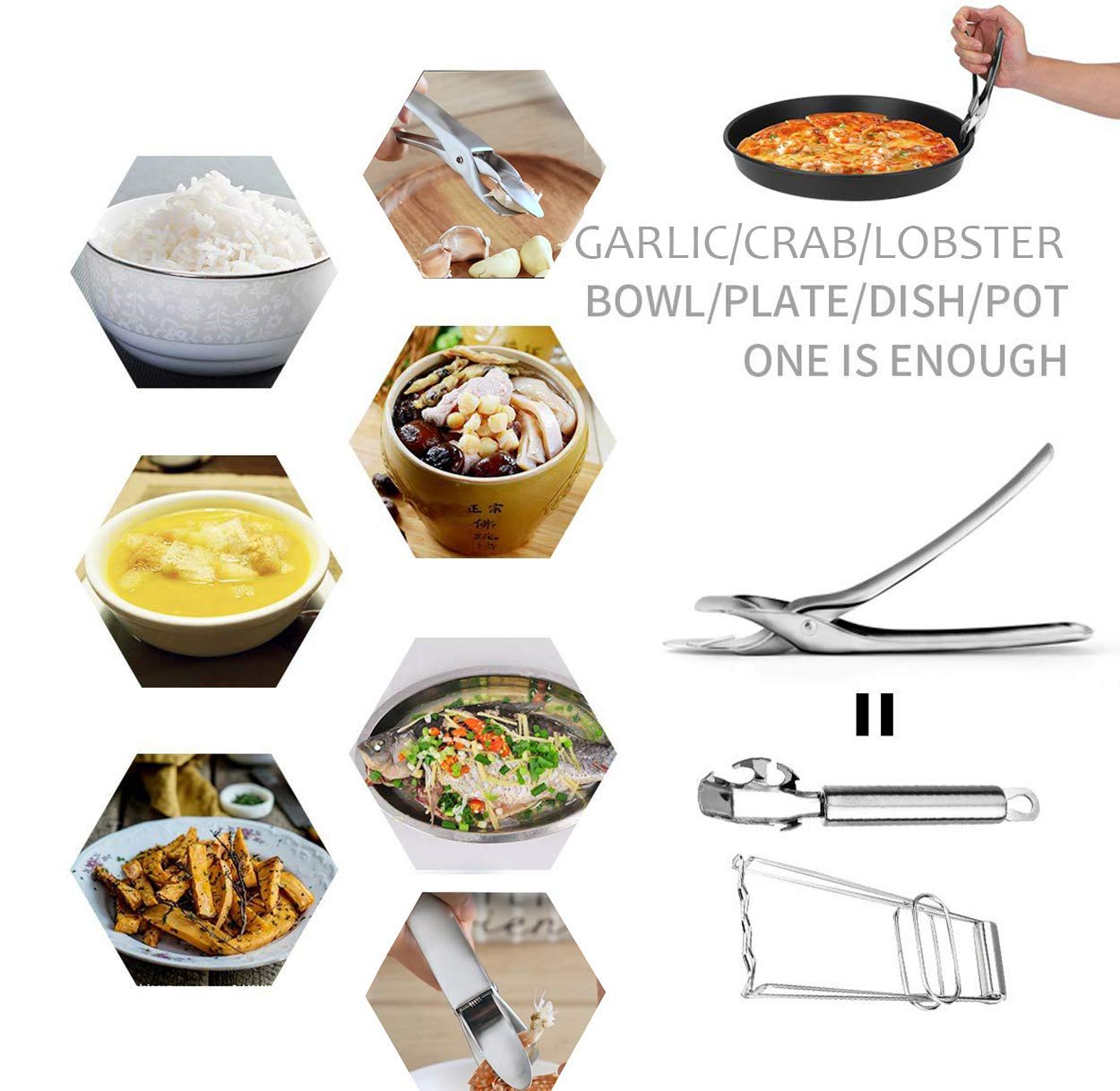 Jubilcuis Scald Proof Tongs, Bowl Clip, 304 Stainless Steel Anti-Scalding Dish Clip, Plate Clamp, Retriever Tongs Gripper Clip for Microwave Oven Air Fryer Instant Hot Pot, Heat Resistant Kitchen Tool