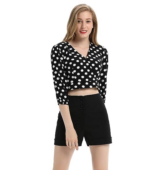 af315a8aa71 Belle Poque Women V-Neck 3/4 Sleeve Cropped Length Wrap Shirt Blouse Black