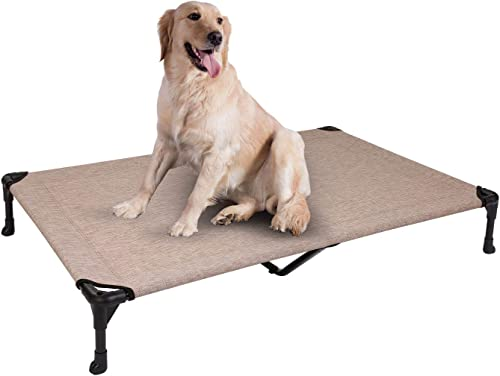 Veehoo Elevated Dog Bed, Portable Raised Pet Cot, Waterproof Breathable Mat, Durable Textilene Mesh Fabric, No-Slip Feet, Indoor or Outdoor Use