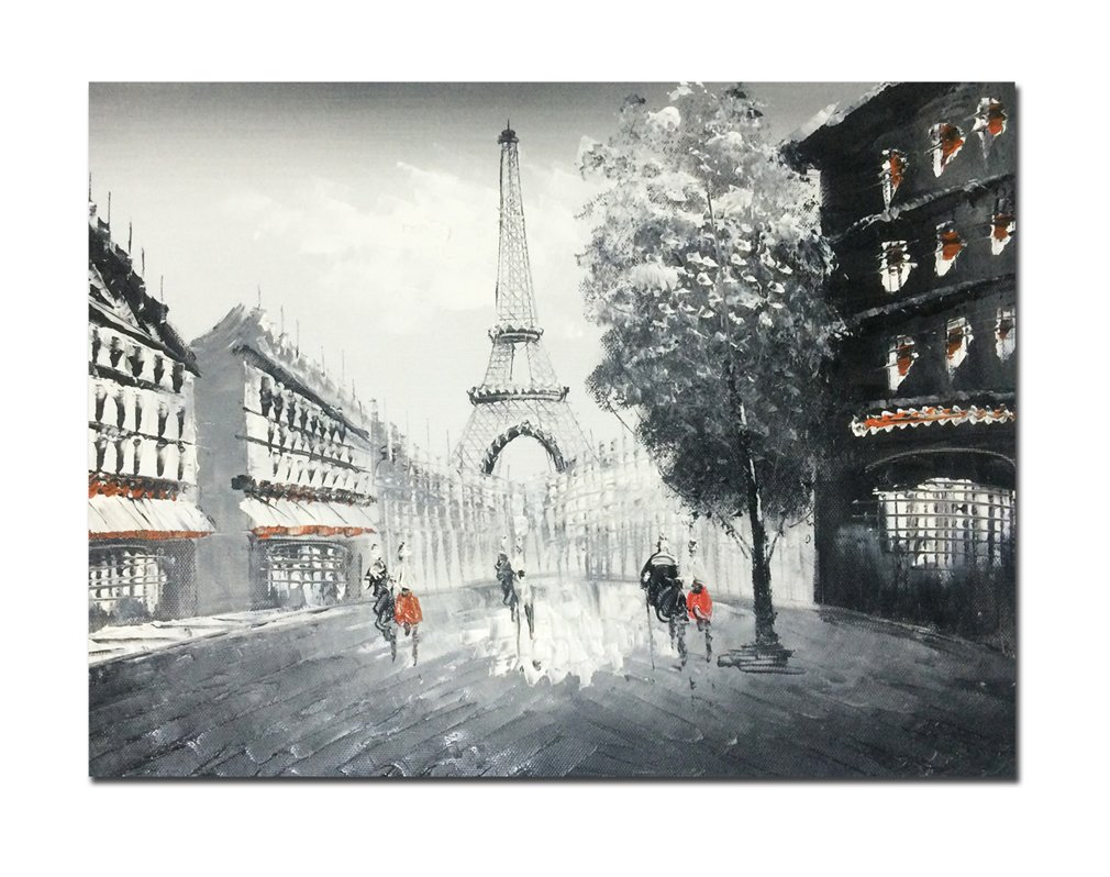 Great Amazon.com: Muzagroo Art Oil Paintings Hand Painted Paris Eiffel Tower Wall  Pictures On Canvas Stretched Ready To Hang Home Decor (Black And White): ...