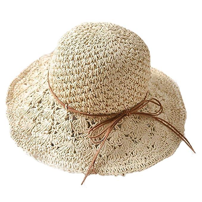 Gorros Mujeres Hombres Sombrero De Paja Sombrero De Sol Sombrero Fácil De  Igualar Plegable De Verano Sombrero De Pesca Sombrero De ala Ancha Playa  Gorras De ... e744e6fb9c7