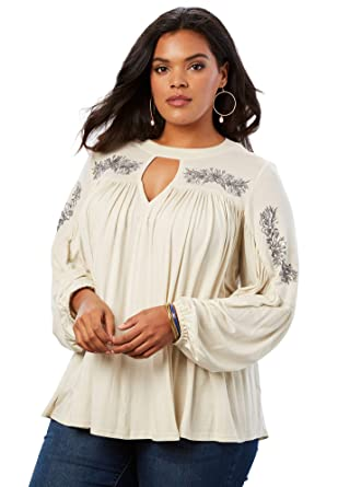 44d26d7748c Roamans Women's Plus Size Embroidered Banded Neck Tunic at Amazon Women's  Clothing store: