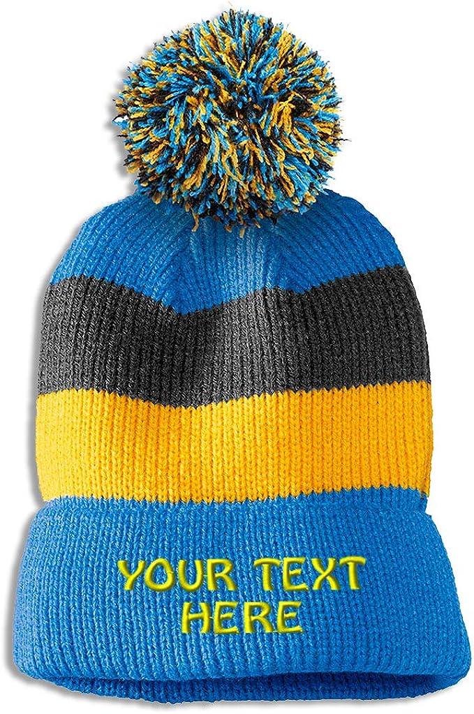 Light blue-yellow-gray stripes custom beanie with pom
