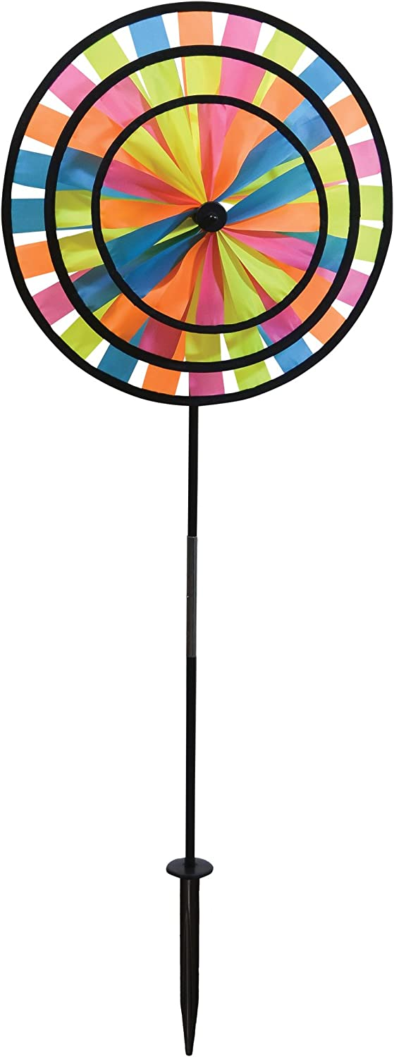 In the Breeze Neon Triple Wheel Spinner- Ground Stake Included - Colorful Décor for your Yard and Garden