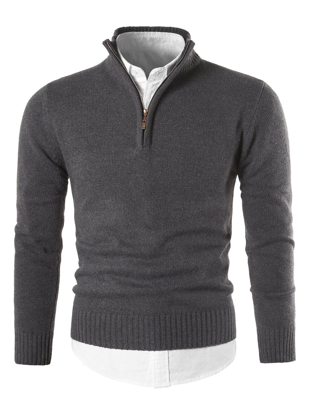 MIEDEON Mens Slim Fit Zip Up Mock Neck Polo Sweater Casual Long Sleeve Sweater and Pullover Sweaters with Ribbing Edge (Dark Grey, 2XL)