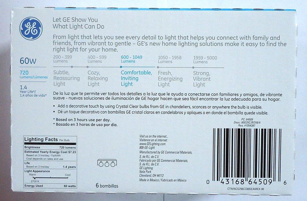 GE 64509 60 Watt, G25 Decorative Globe Light Bulb, Crystal Clear ...