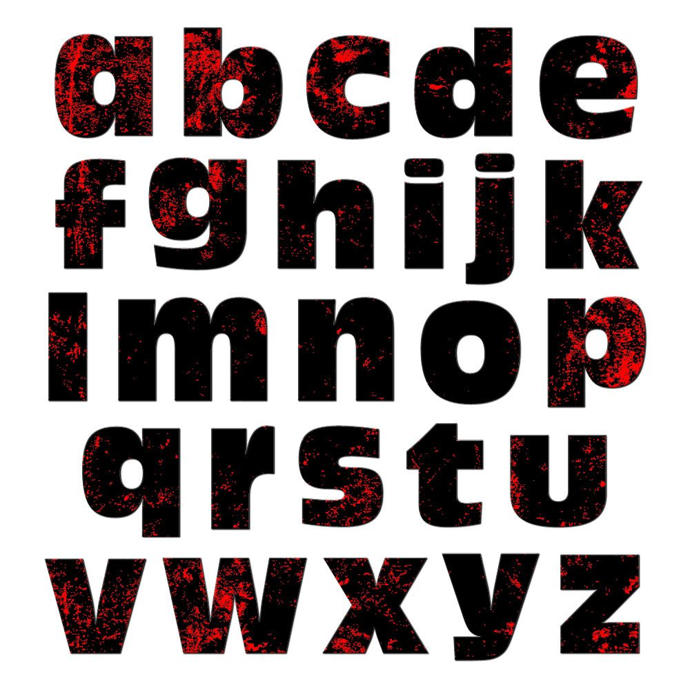 Red and Black Destroyed Zombie Graphics and More Alphabet Letters Lowercase Novelty Gift Locker Refrigerator Vinyl Magnet Set