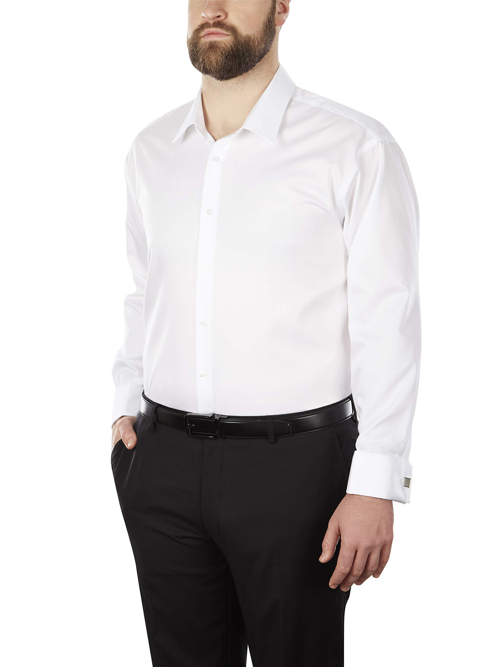Calvin Klein Men's Big and Tall Dress Shirt Non Iron Solid, White, 17.5'' Neck 36''-37'' Sleeve (X-Large)