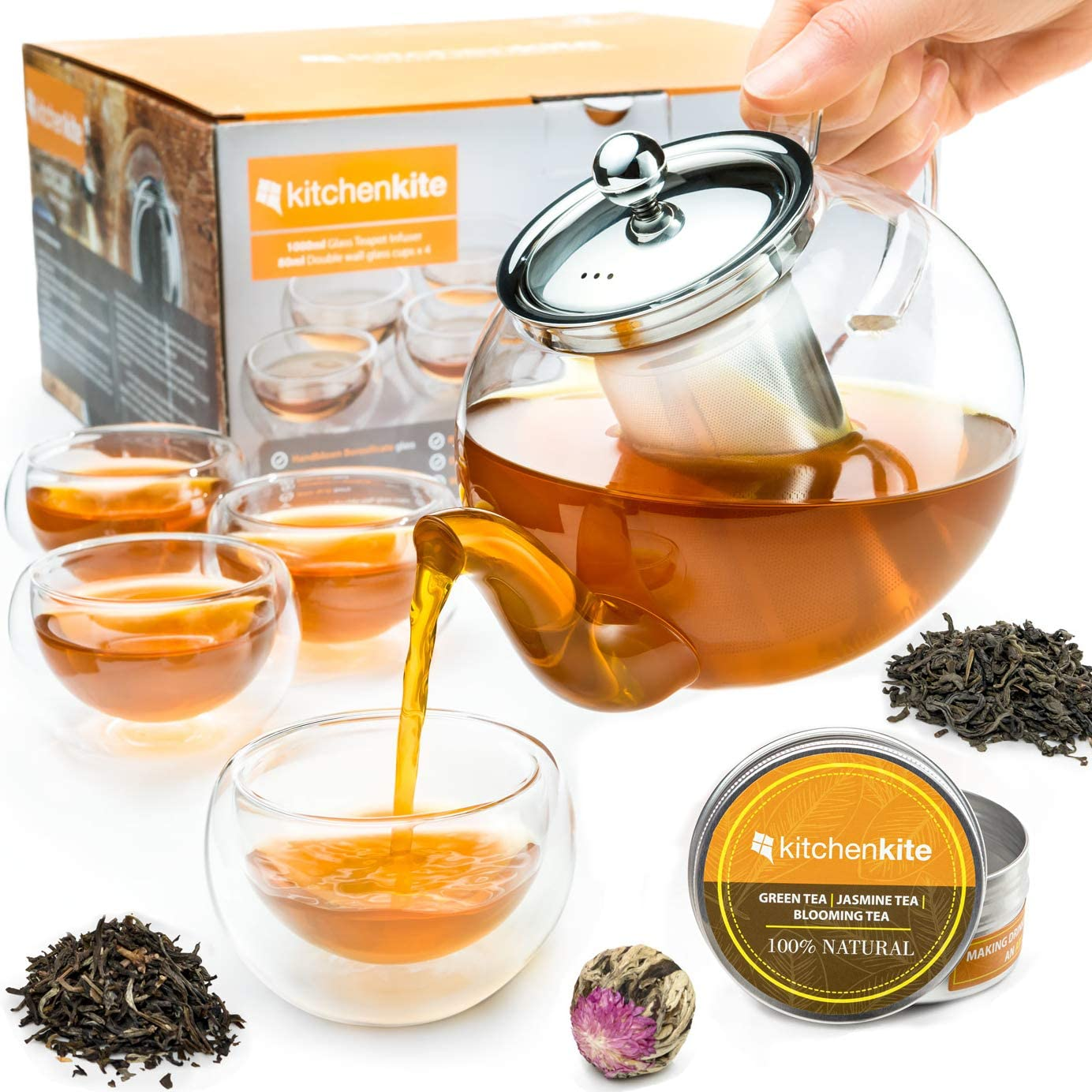 Tea Kettle Infuser Stovetop Gift Set - Glass Teapot with Removable Stainless Steel Strainer, Microwave & Dishwasher Safe, Tea Pot with Blooming, Loose Leaf Tea