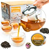 Tea Kettle Infuser Stovetop Gift Set - Glass Teapot with Removable Stainless Steel Strainer, Microwave & Dishwasher Safe…
