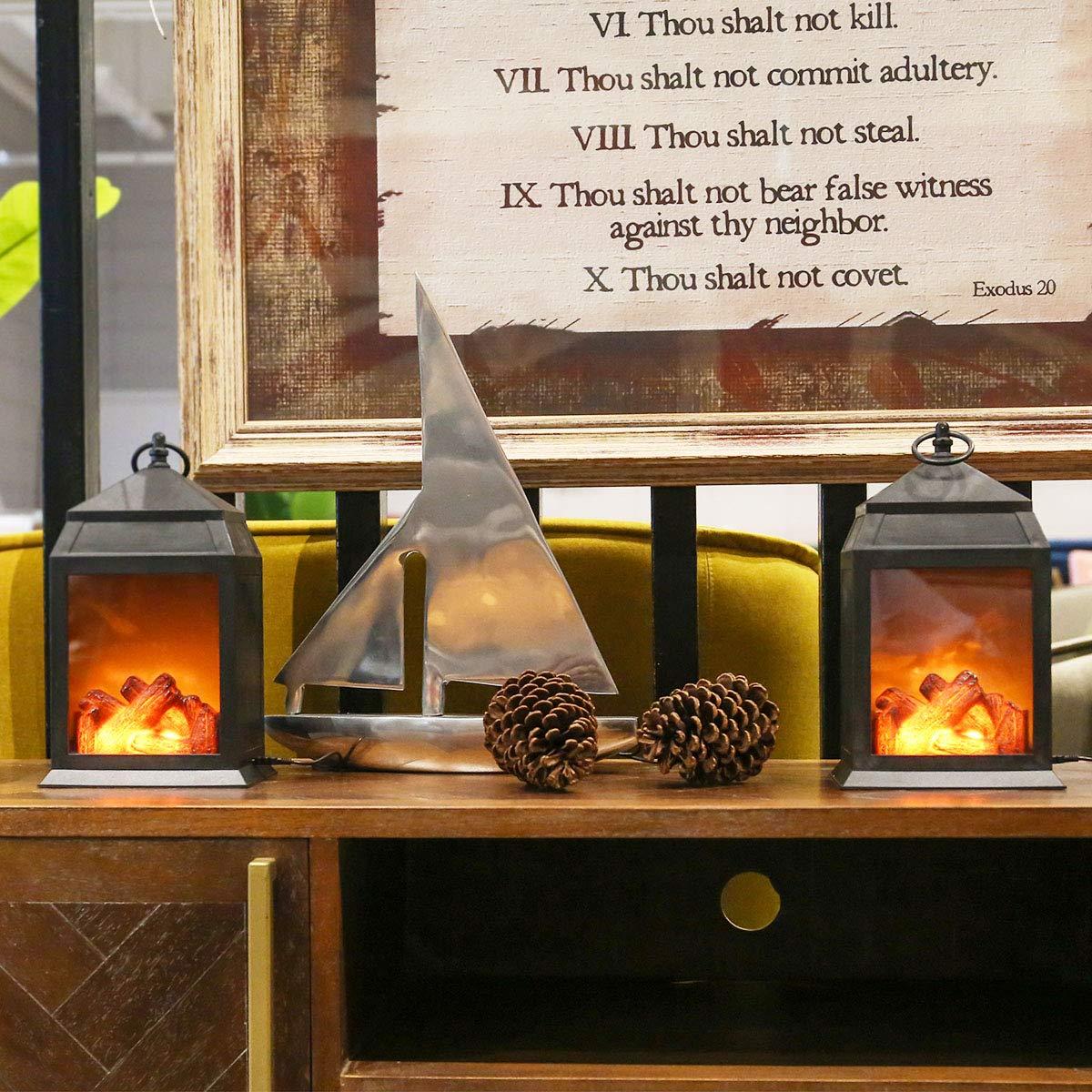 Decorative Lanterns,12'' Fireplace Lantern Flameless LED Lantern Battery Powered and USB 6 Hours Timer Indoor/Outdoor Hanging Lantern,Black Fireplace Lamp(Pack of 2)