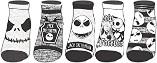 Ladie's The Nightmare Before Christmas Black & White 5-Pack Ankle Socks