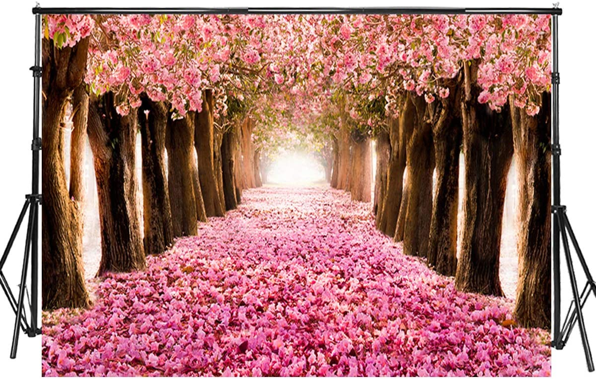 8x12 FT Moon Vinyl Photography Background Backdrops,Sakura Branches with Flowers Culture Inspired Shades of Tree Background for Selfie Birthday Party Pictures Photo Booth Shoot