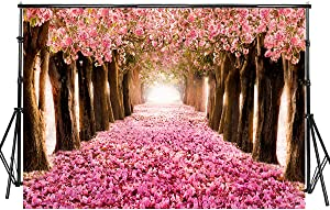 Sensfun 7x5ft Pink Flower Trees Photography Backdrops Romantic Cherry Blossom Street Photo Background for Wedding Bridal Shower Photobooth Banner Woman Lady Artistic Portrait Wallpaper(WP100)