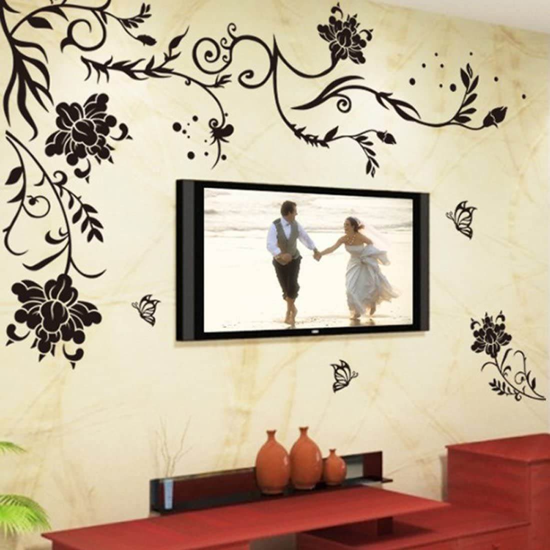 Wall Decal Black Flowers Leaves Vines Butterflies Wall Decal Home Sticker Paper Removable Living Room Bedroom Art Picture DIY Mural Kids Nursery Baby + Gift Colorful Butterflies