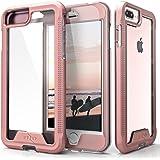 Zizo ION 系列兼容 iPhone 8 Plus 手机壳*级跌落测试钢化玻璃屏幕保护膜 iPhone 7 Plus 手机壳1IONC-IPH7PLUSN-RGDCL 玫瑰金/透明