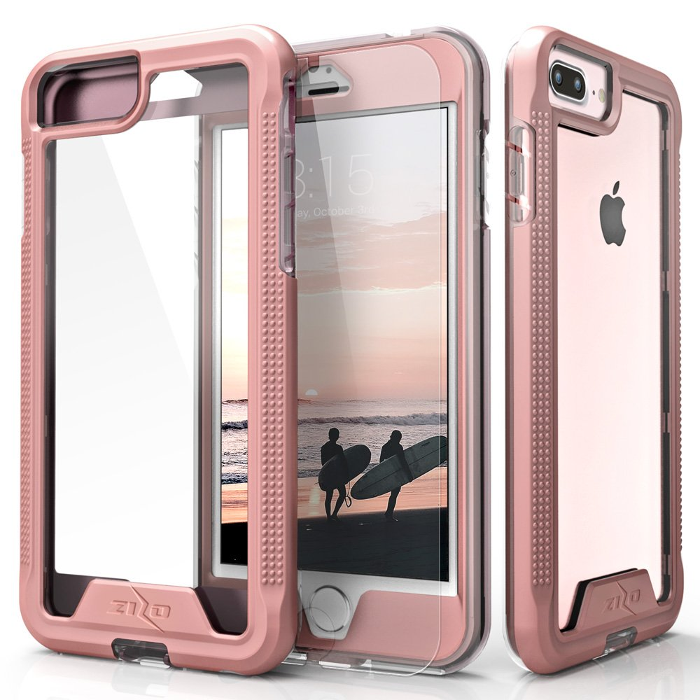 Zizo ION Series compatible with iPhone 8 Plus Case Military Grade Drop Tested with Tempered Glass Screen Protector iPhone 7 Plus Case ROSE GOLD CLEAR