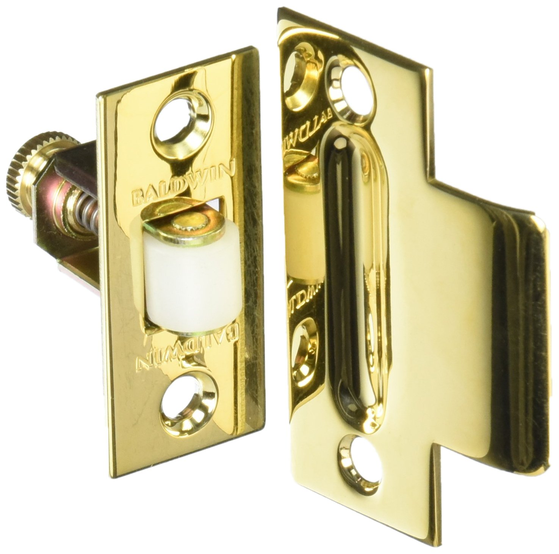 Baldwin 0440031 Adjustable Roller Catch, Unlacquered Bright Brass