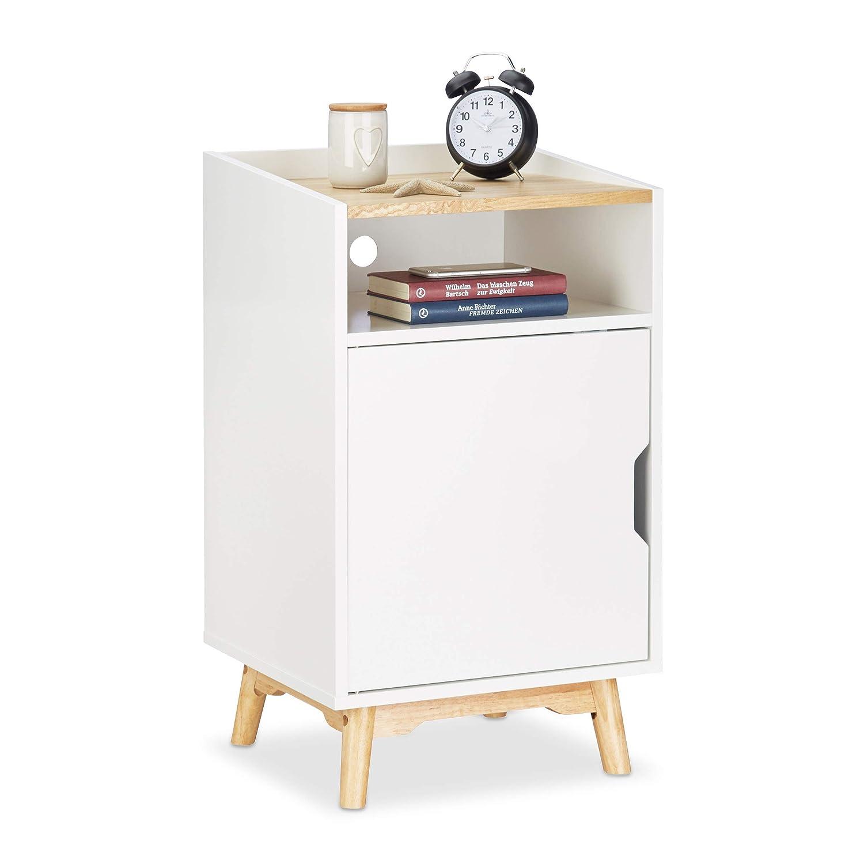 Relaxdays Nachttisch mit Tür, 4 Kiefernholzbeine, skandinavisches Design, offenes Fach, Betttisch 74 x 43 x 40 cm, weiß