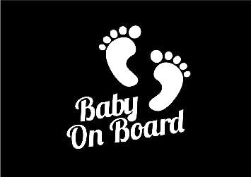 033w Vinyl Aufkleber Baby Füße Mit Aufschrift Baby On Board Auto Fenster Baumarkt