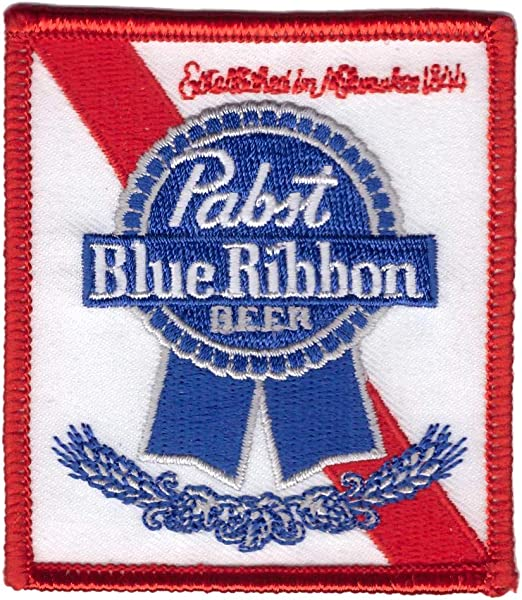 Pabst Blue Ribbon Beer Iron On Patch American Lager Beer Milwaukee