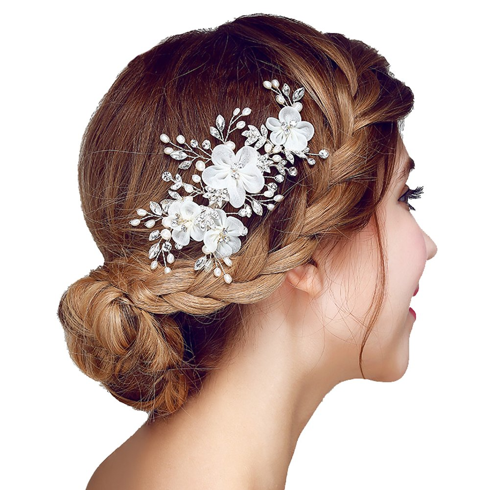 Meiysh Bridal Flower Side Hair Clips Pearl Bridal Headpiece Wedding Accessories(Off White)