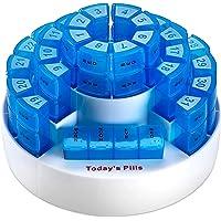 LOVEQIZI Pastillero mensual portátil: organización Inteligente de prescripción con múltiples dosis diarias, Compartimentos extraíbles perfectos para Viajar