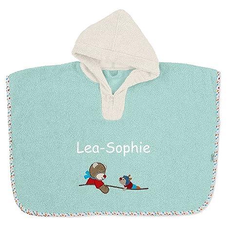 Sterntaler Poncho con nombre bordado 70 x 50 cm Toalla de manos para bebé recién nacido