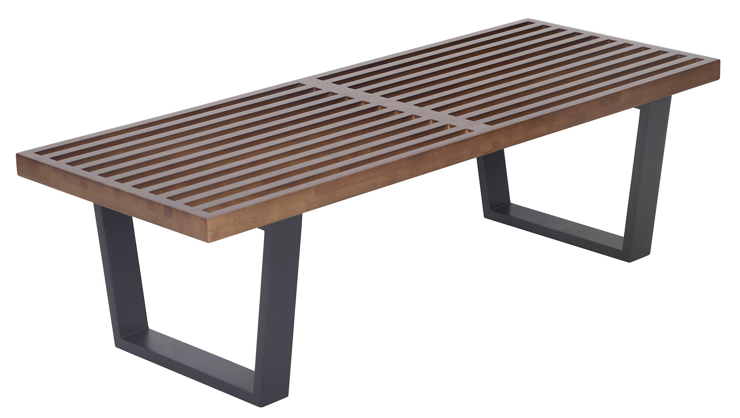 MLF George Nelson Platform Bench (3, Wooden Entryway Bench, 4 Feet in Dark Walnut Painted Ash Wood by MLF (Image #1)