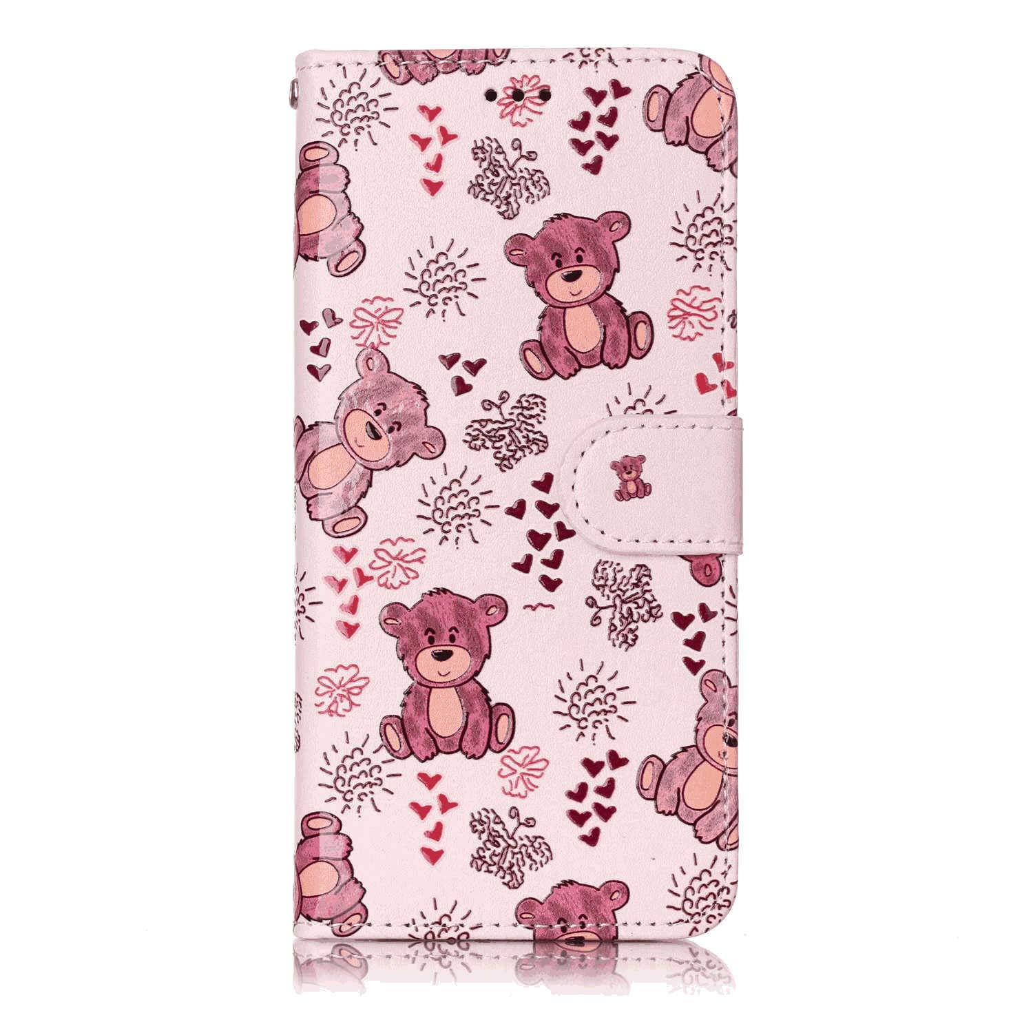 Stylish Cover Compatible with iPhone 11 Bear Leather Flip Case Wallet for iPhone 11