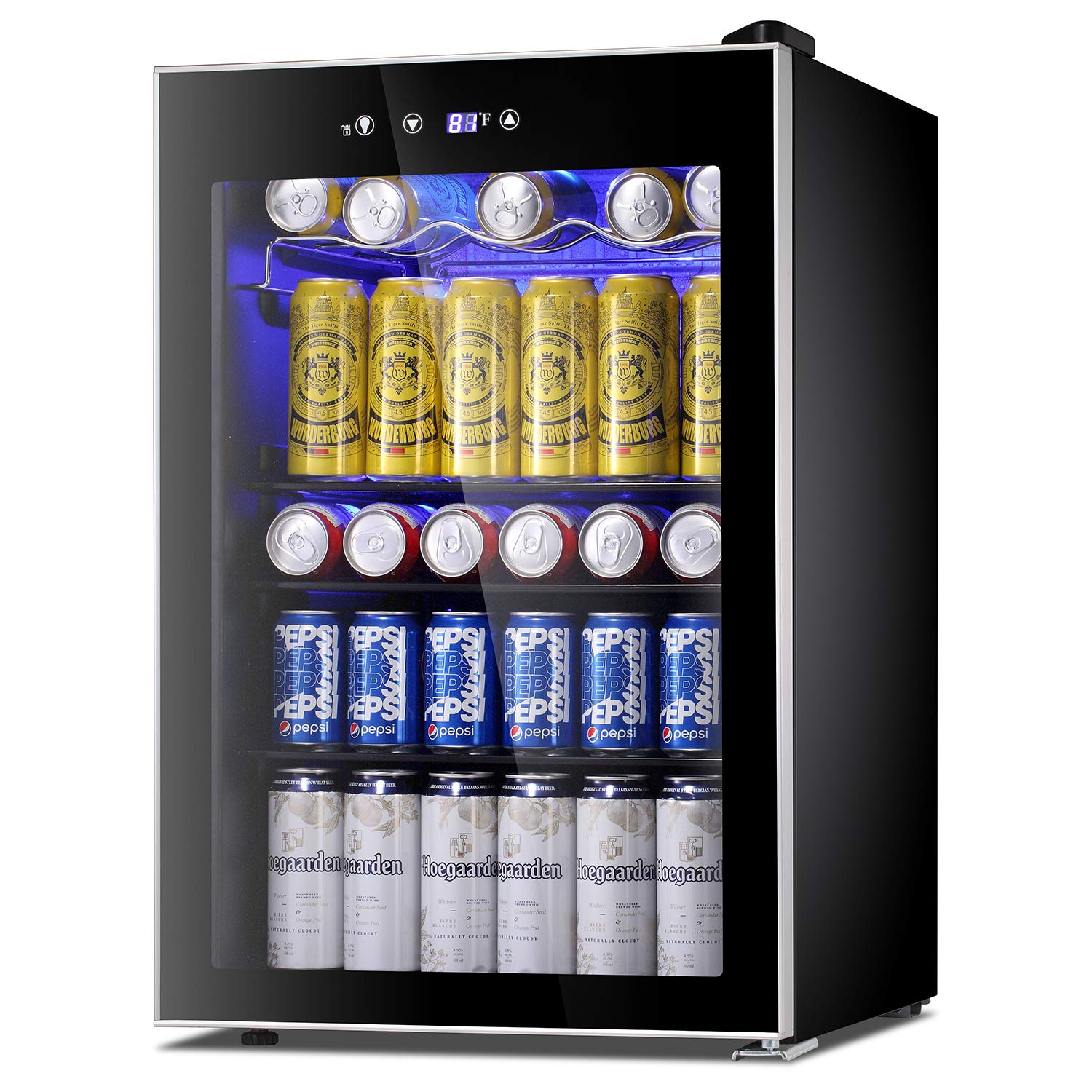 Antarctic Star Beverage Refrigerator Cooler-120 Can Mini Fridge Glass Door for Soda Beer Wine Stainless Steel Glass Door Small Drink Dispenser Machine Digital Display for Home, Office Bar,4.5cu.ft