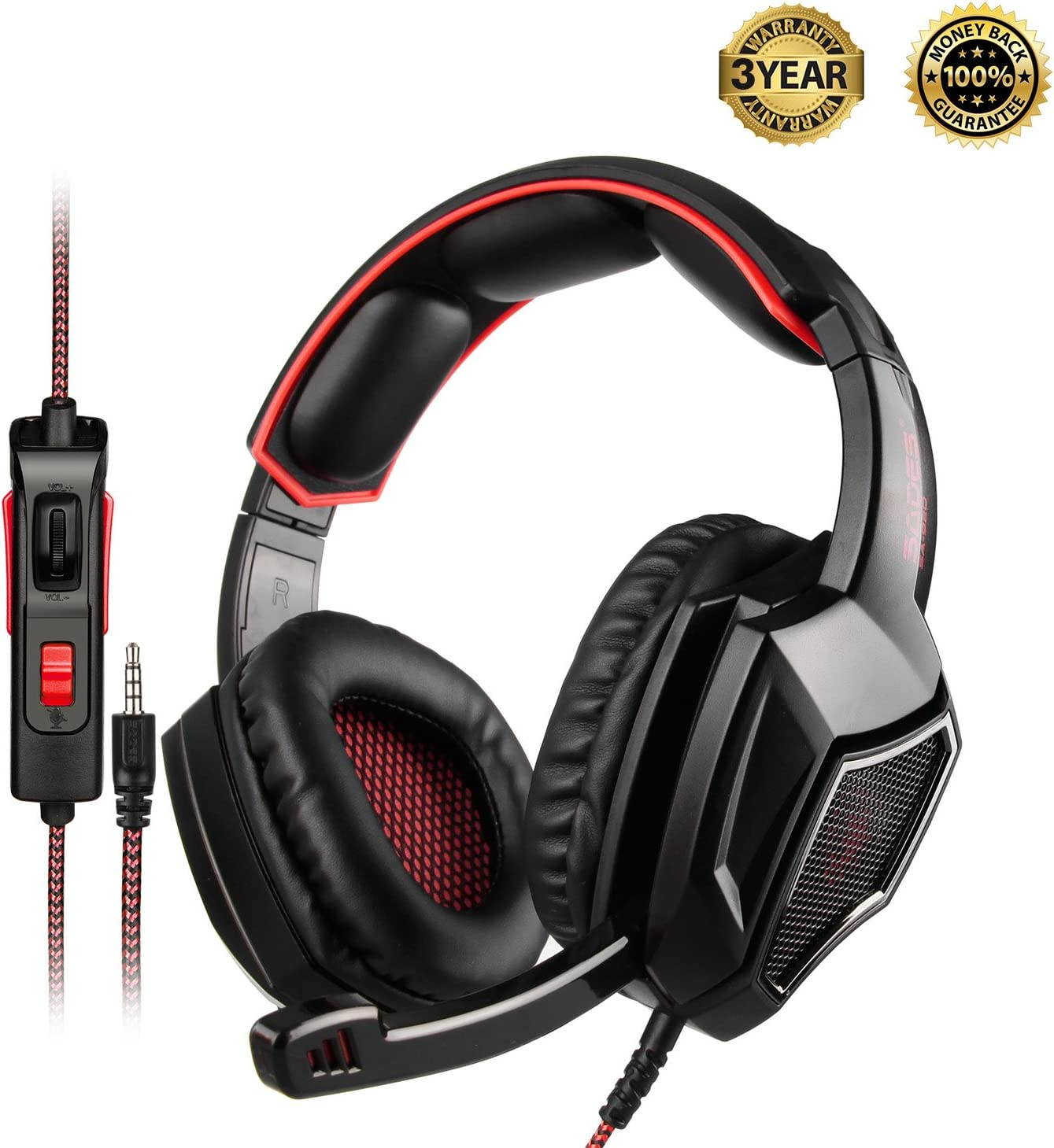 SADES SA920PLUS Stereo Gaming Headset for PS4, PC, Xbox One Controller, Noise Cancelling Over Ear Headphones with Mic, Bass Surround, Soft Memory Earmuffs for Laptop Mac Nintendo Switch Black Red