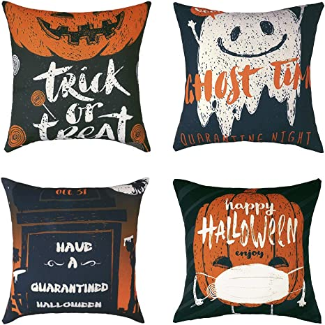 Amazon Com Sigoods Halloween Throw Pillow Case Cushion Cover Trick Or Treat Ghost Time Happy Halloween Have A Quarantined Halloween Canvas Pillowcase Decorative For Patio Couch Sofa Home Car Couch Pack Of 4 Home Kitchen