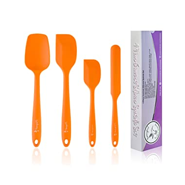 Hummingbird PS Silicone Spatula Set - Rubber Spatulas Silicone Heat Resistant for Non Stick Cookware - Kitchen Utensils for Baking, Mixing, Cooking - One Piece Design - Stainless Steel Core - Orange