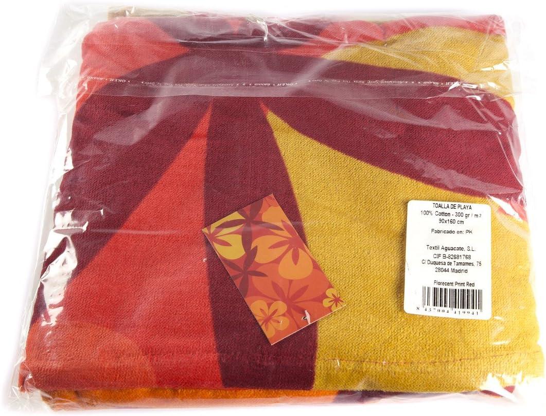 Rojo I LIKE Toalla DE Playa FLORECENT 100/% Algod/ón 90 x 160 cm