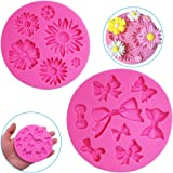 2 Pieces Decorative Silicone Molds, Chrysanthemum Flower and Bow Tie Shaped, FineGood Chocolate Fondant Clay Sugar Craft…