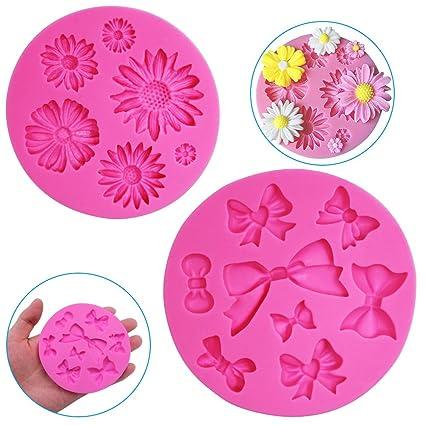 2 Stück Dekorative Silikon Formen, Chrysanthemum Blumen und Fliege geformter, finegood Schokolade Fondant Clay Zucker Craft S