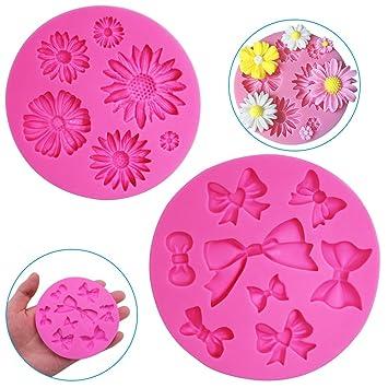 FineGood - Moldes decorativos de silicona para tartas (2 unidades), diseño de flor