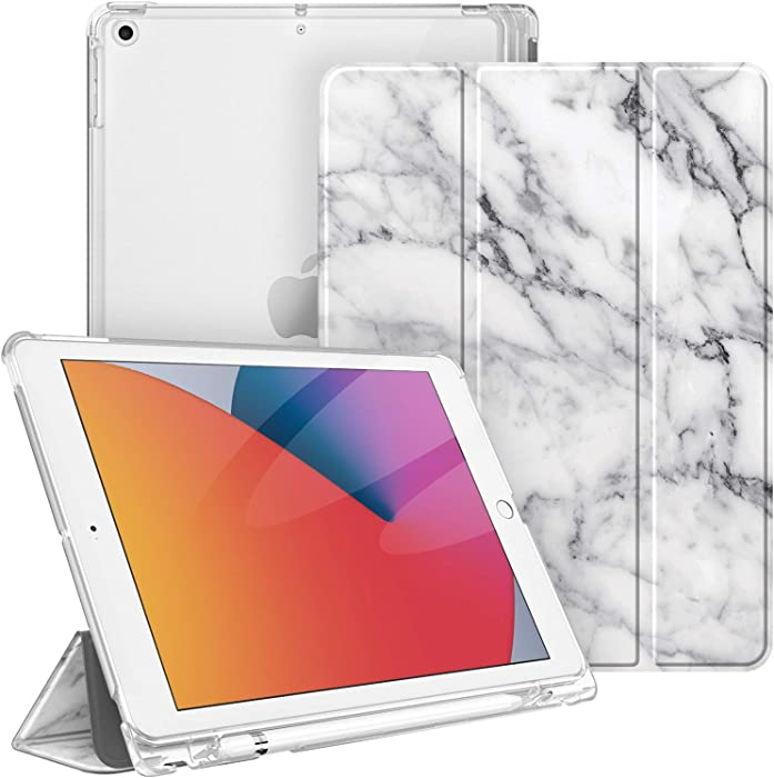 Fintie Case for New iPad 8th Gen (2020) / 7th Generation (2019) 10.2 Inch - Lightweight Slim Shell Stand with Translucent Frosted Back Cover Supports Auto Wake/Sleep, Marble White