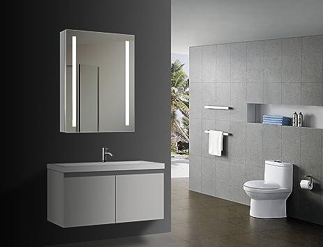 HOMESWEE Illuminated Medicine Bathroom Mirror Cabinet Illuminated mirrored bathroom cabinets Wall Mounted Lighted Bathroom & Amazon.com: HOMESWEE Illuminated Medicine Bathroom Mirror Cabinet ...