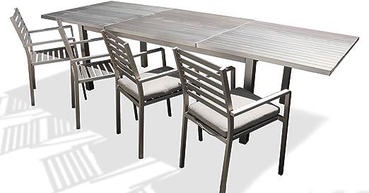 Mesa de jardín de comedor extensible de aluminio 3 metros – Irwan: Amazon.es: Hogar