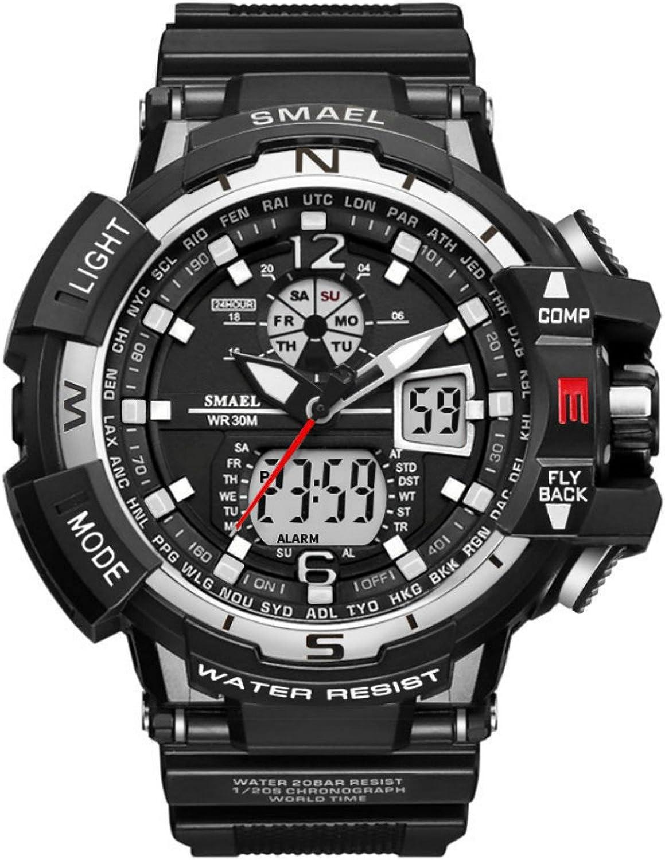 Reloj analógico Digital Militar Reloj Deportivo Hombres Dual Dial Negocio Casual Multifunción Relojes de Pulsera electrónicos Reloj Resistente