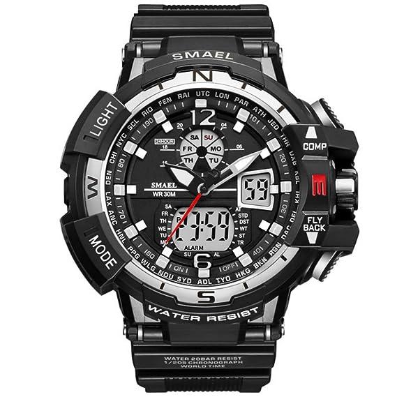 Analógico Digital Reloj Militar Reloj Deportivo para Hombre Doble Esfera  Business Casual multifunción electrónico muñeca Relojes Resistente al ... e65237abb3ff