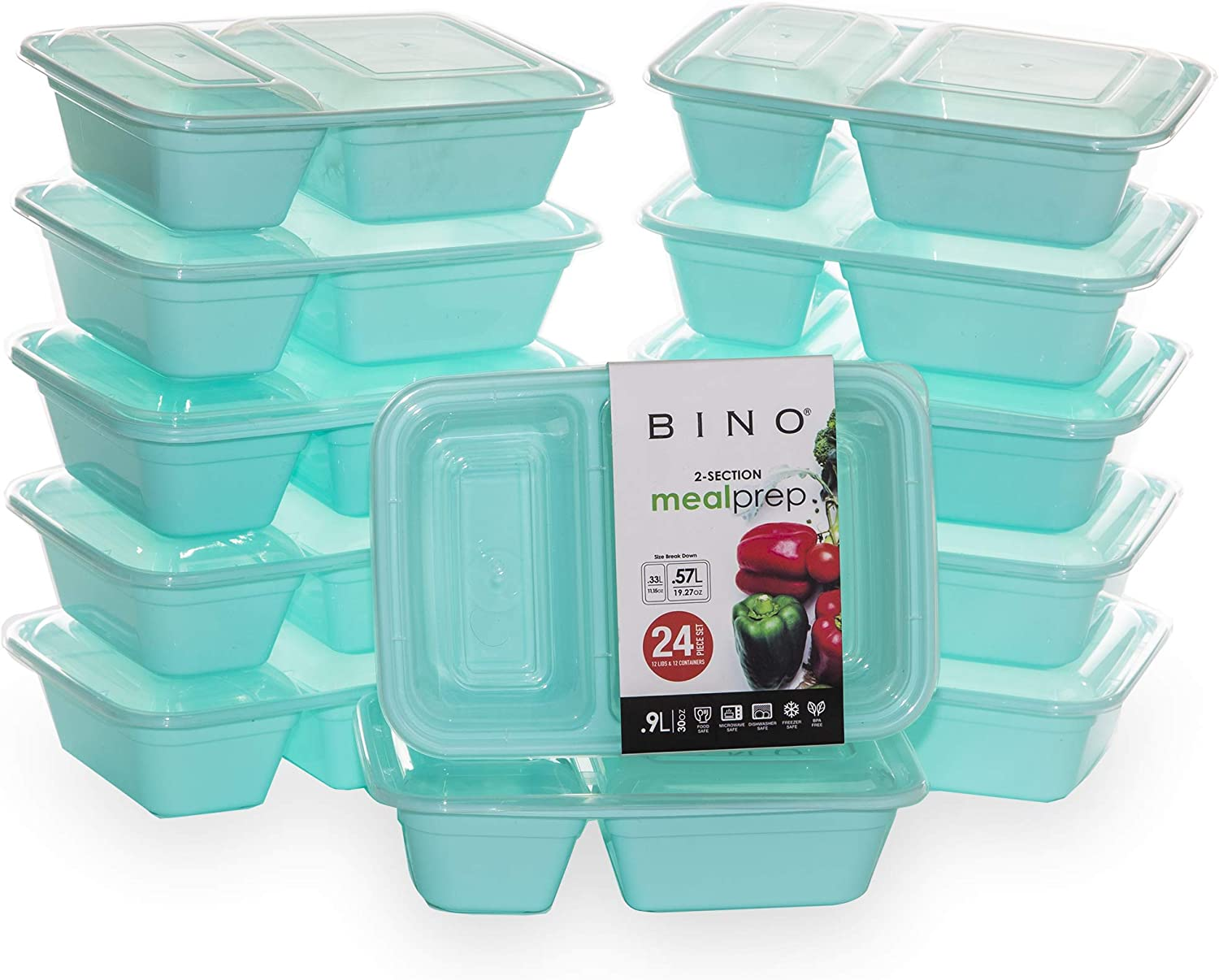 BINO Meal Prep Containers with Lids - 2 Compartment /30 oz [12-Pack], Light Blue - Bento Box Lunch Containers for Adults Food Containers Meal Prep Food Prep Containers Set