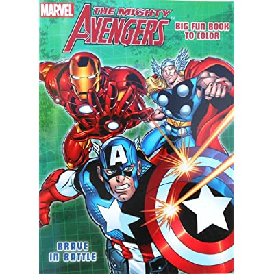 "Marvel The Mighty Avengers Coloring Book with Captain America, Hulk and Thor ""Brave in Battle"": Toys & Games"
