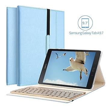 Samsung Galaxy Tab A 9.7 funda para teclado, KVAGO 7 colores retroiluminación teclado extraíble Bluetooth