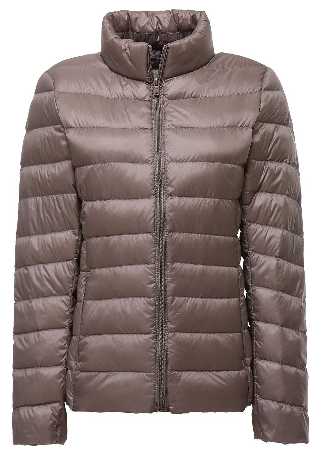1b11deacedf Galleon - Sawadikaa Women s Ultra Light Packable Stand Collar Winter Pillow  Down Puffer Jacket Coat Grey Medium