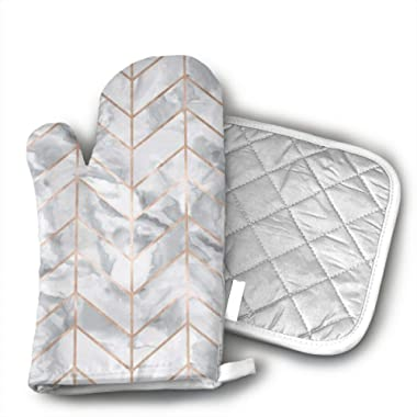 Marble Herringbone Rose Gold Gilt Design Kitchen Oven Mitts Oven Gloves with Cotton Lining for BBQ Cooking Set Baking Grilling Barbecue Microwave Machine