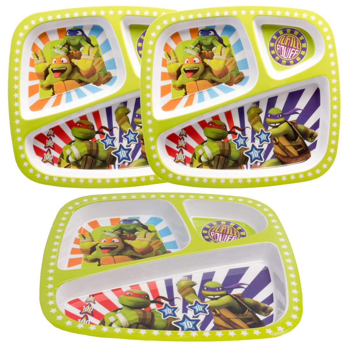 Zak! (3 Pack) Kids Teenage Mutant Ninja Turtles 3-Section Divided Compartment Plates TMNT Dishwasher Safe
